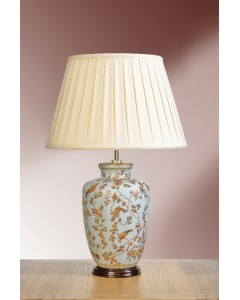 Elstead Lighting - Lui's Collection - Gold Birds & Berries Oriental Table Lamp Complete With Oyster Cotton Box Pleated Shade