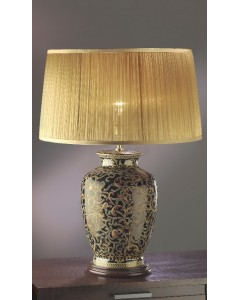 Lui's Collection - Morris Large Oriental Table Lamp In Gold/Black Complete With Gold Chiffon Shade