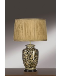 Elstead Lighting - Lui's Collection - Morris Small Oriental Table Lamp In Gold/Black Complete With Gold Chiffon Shade