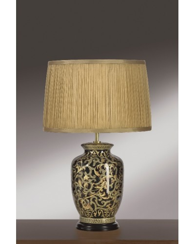 Lui's Collection - Morris Small Oriental Table Lamp In Gold/Black Complete With Gold Chiffon Shade
