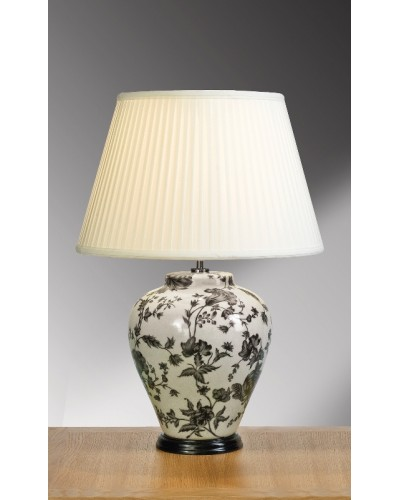 Lui's Collection - Peonies Traditional Oriental Table Lamp Complete With Ivory Cotton Fine Pleated Shade