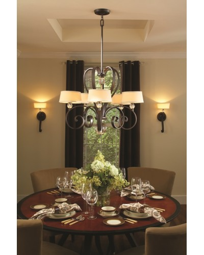 Elstead Lighting Quoizel Madison Manor 5 Light Chandelier In Western Bronze Finish With Height Adjustable Rods