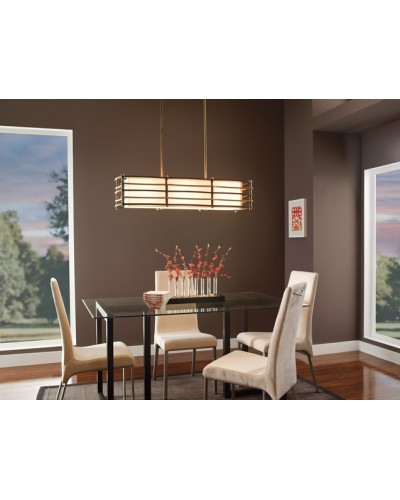 Elstead Lighting Kichler Moxie 3 Light Island Pendant In Cambridge Bronze Finish With Height Adjustable Rods
