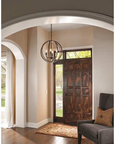Feiss Allier 4 Light Pendant In Weather Oak Wood & Antique Forged Iron Finish