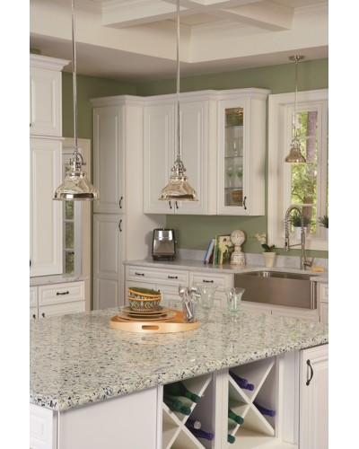 Elstead Lighting Quoizel Emery 1 Light Mini Pendant In Imperial Silver Finish With 4 Height Adjustable Rods