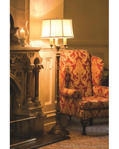 Feiss Gibson 4 Light Floor Lamp In Cambridge Crackle Finish With Desert Linen Fabric Shade