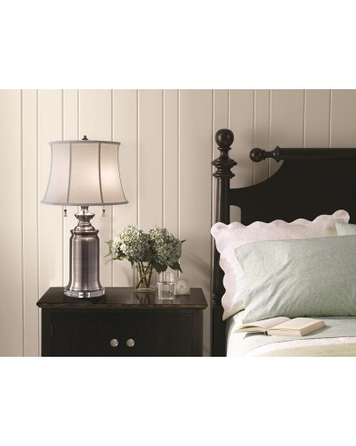 Feiss Stateroom 2 Light Table Lamp In Antique Nickel Finish With True White Cotton Linen Shade