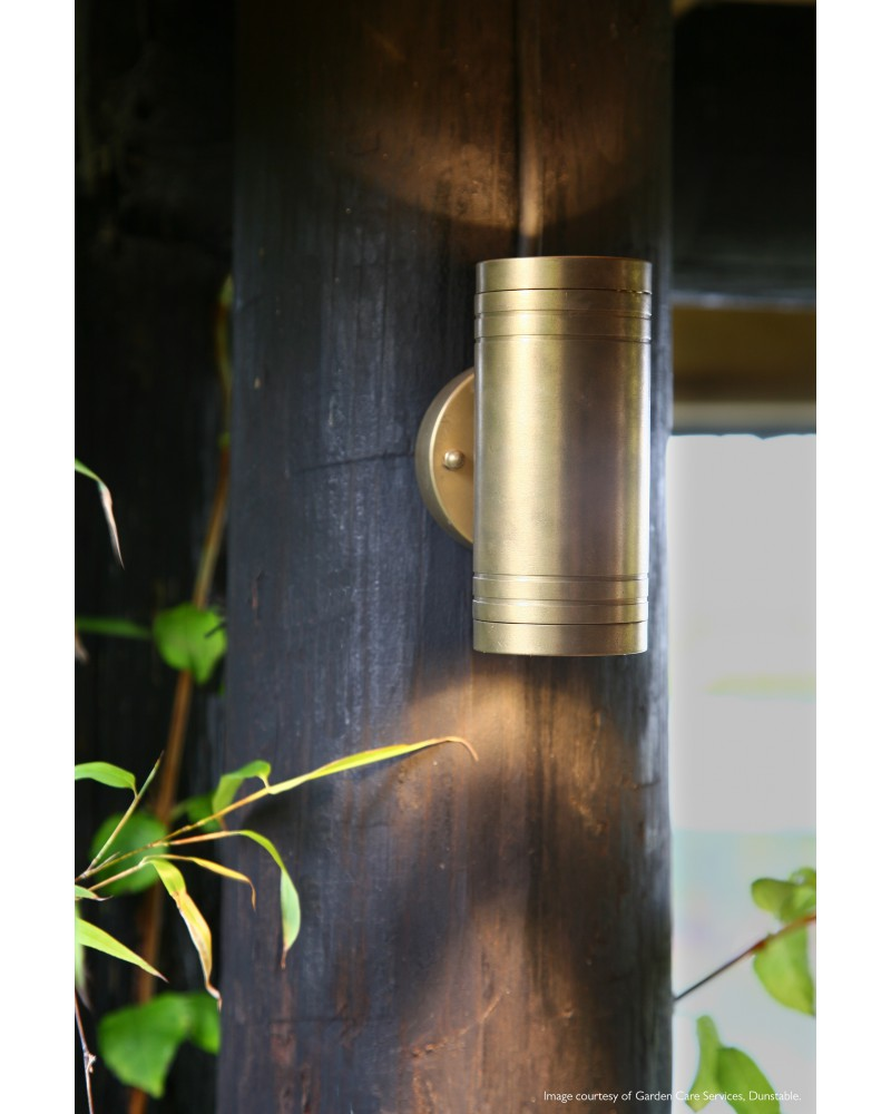 Elite 2 light led outdoor updown wall light in solid natural brass aloadofball Image collections