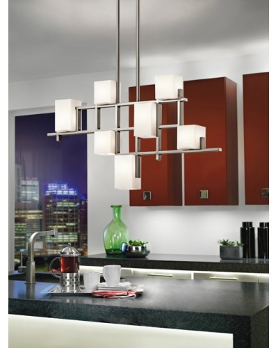 Kichler City Lights 7 Light Linear Chandelier In Classic Pewter Finish With Height Adjustable Rods