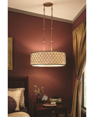 Feiss Lucia 3 Light Large Oval Crystal Pendant In A Burnished Silver Finish With Height Adjustable Rods