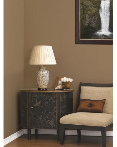 Lui's Collection - Gold Birds & Berries Oriental Table Lamp Complete With Oyster Cotton Box Pleated Shade