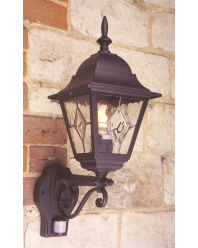 Elstead Lighting Norfolk 1 Light Outdoor Security Wall Lantern In Black Finish With PIR Sensor
