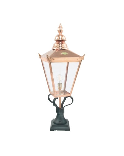 Elstead Lighting Norlys Chelsea 1 Light Outdoor Pedestal Lantern In Copper and Black Finish