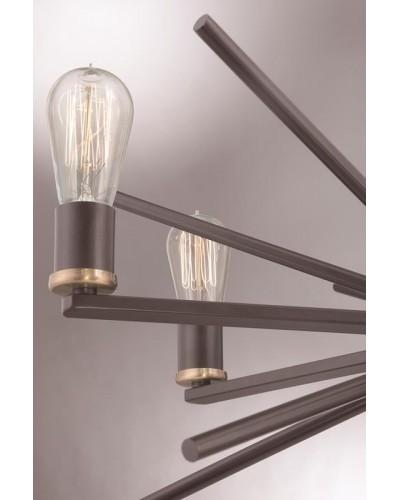Elstead Lighting Quoizel Carnegie 6 Light Chandelier In Western Bronze Finish With Height Adjustable Rods