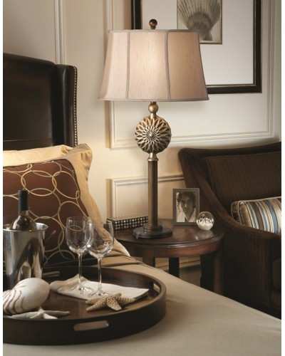 Feiss Davidson 1 Light Table Lamp In Firenze Gold/ Silver Leaf Finish With Mocha Shantung Linen Shade