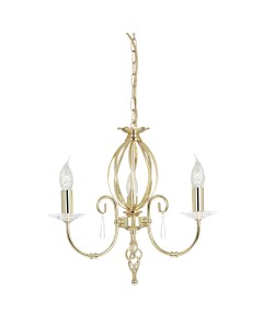 Elstead Lighting Aegean 3 Light Duo-Mount Chandelier In Polished Brass Finish