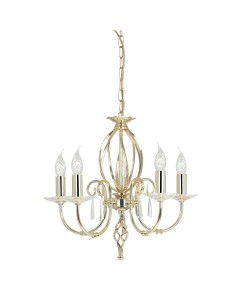 Elstead Lighting Aegean 5 Light Duo-Mount Chandelier In Polished Brass Finish