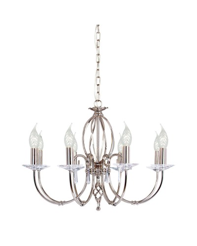 Elstead Lighting Aegean 8 Light Duo-Mount Chandelier In Polished Nickel Plating