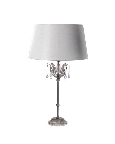 Elstead Lighting Amarilli 1 Light Table Lamp In Black/Silver Finish Complete with Silver Shade