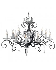 Elstead Lighting Amarilli 10 Light Chandelier In Black/Silver Finish