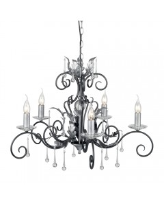 Elstead Lighting Amarilli 5 Light Chandelier In Black/Silver Finish
