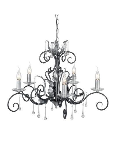Elstead Lighting Amarilli 5 Light Chandelier In Black/Silver Finish