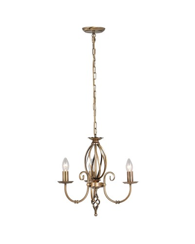 Elstead Lighting Artisan 3 Light Duo-Mount Chandelier In Aged Brass Finish