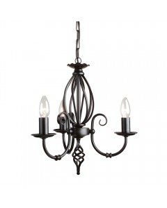 Elstead Lighting Artisan 3 Light Duo-Mount Chandelier In Black Finish