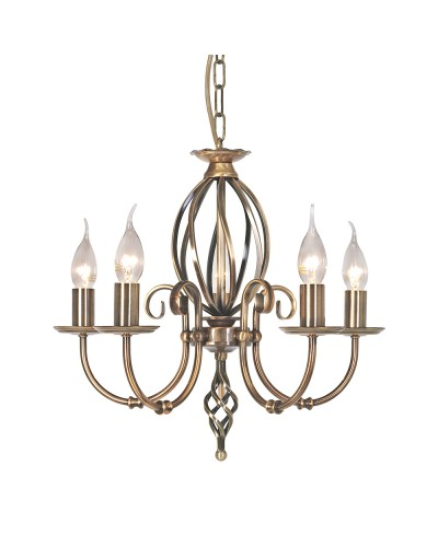 Elstead Lighting Artisan 5 Light Duo-Mount Chandelier In Aged Brass Finish