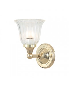 Elstead Lighting Austen1 Solid Brass 1 Light Bathroom Wall Light In Polished Brass With Ridged Tulip Glass Shade (IP44)