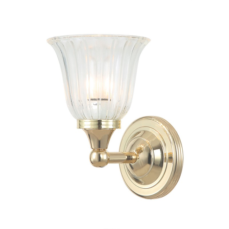 Quality bathroom lights lighting oberoi brothers elstead lighting austen1 solid brass 1 light bathroom wall light in polished brass with ridged tulip mozeypictures Images