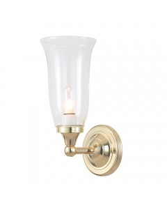 Elstead Lighting Austen2 Solid Brass 1 Light Bathroom Wall Light In Polished Brass With Clear Glass Shade (IP44)