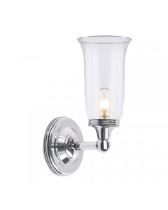 Elstead Lighting Austen2 Solid Brass 1 Light Bathroom Wall Light In Polished Chrome Finish With Clear Glass Shade (IP44)