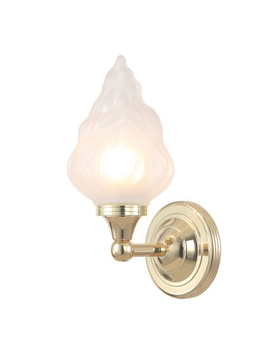 Elstead Lighting Austen3 Solid Brass 1 Light Bathroom Wall Light In Polished Brass With Fluted Glass Shade (IP44)