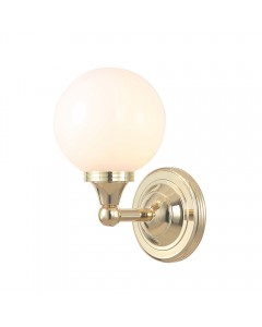Elstead Lighting Austen4 Solid Brass 1 Light Bathroom Wall Light In Polished Brass With Opal Glass Globe (IP44)