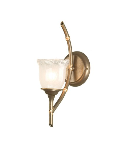 Elstead Lighting Bamboo 1 Light Bathroom Wall Light In Bronze Patina Finish With Glass Shade (IP44)