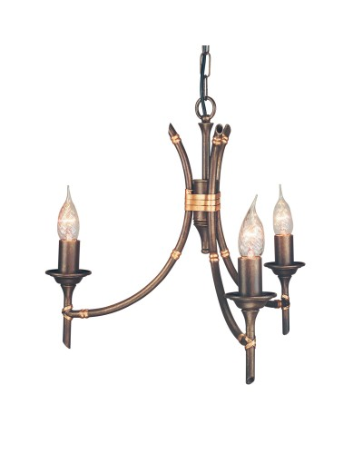 Elstead Lighting Bamboo 3 Light Duo-Mount Chandelier In Bronze Patina Finish
