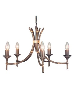 Elstead Lighting Bamboo 5 Light Duo-Mount Chandelier In Bronze Patina Finish