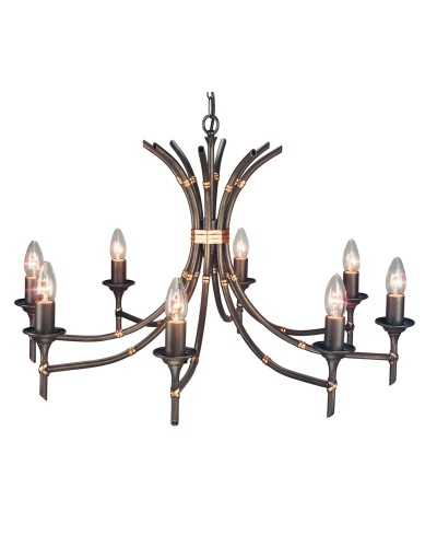 Elstead Lighting Bamboo 8 Light Duo-Mount Chandelier In Bronze Patina Finish