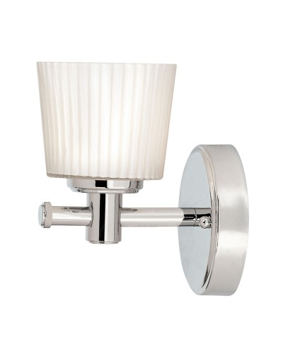 Elstead Lighting Binstead 1 Light Bathroom Wall Light In Polished Chrome Finish With Opal Glass Shade (IP44)