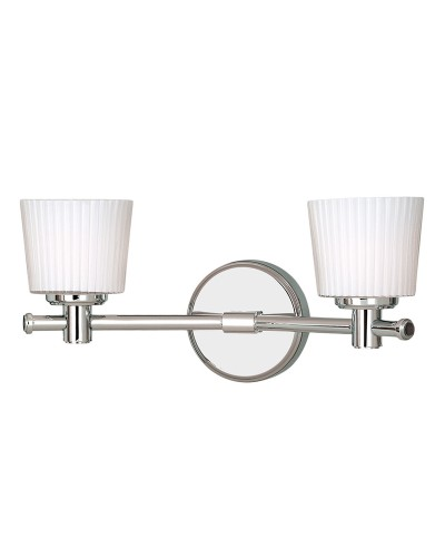 Elstead Lighting Binstead 2 Light Bathroom Wall Light In Polished Chrome Finish With Opal Glass Shades (IP44)