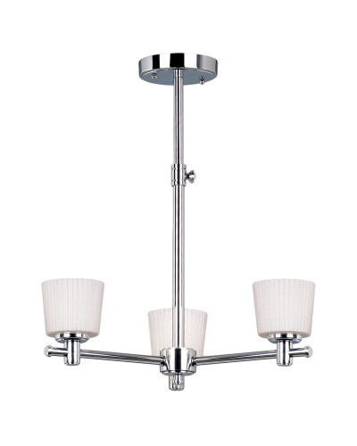 Elstead Lighting Binstead 3 Light Bathroom Ceiling Light In Polished Chrome Finish With Opal Glass Shades & Telescopic Adjustable Rod (IP44)