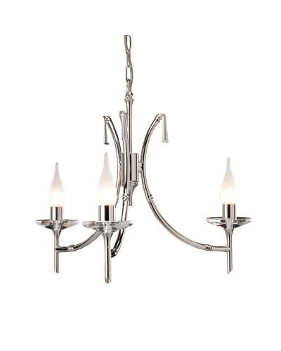 Elstead Lighting Brightwell 3 Light Duo-Mount Chandelier In Polished Nickel Finish