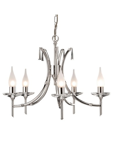 Elstead Lighting Brightwell 5 Light Duo-Mount Chandelier In Polished Nickel Finish