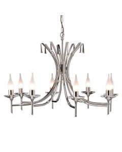 Elstead Lighting Brightwell 8 Light Duo-Mount Chandelier In Polished Nickel Finish