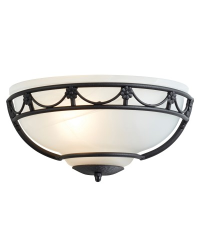 Elstead Lighting Carisbrooke 1 Light Wall Uplighter In Black Finish With White Glass