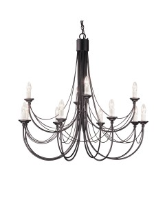 Elstead Lighting Carisbrooke 12 Light Chandelier In Black Finish