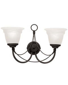 Elstead Lighting Carisbrooke 2 Light Wall Light In Black Finish Complete With White Alabaster Glass Shades
