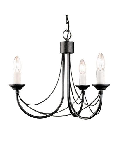 Elstead Lighting Carisbrooke 3 Light Duo Mount Chandelier In Black Finish