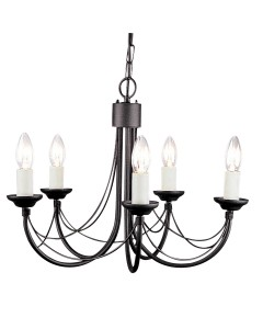 Elstead Lighting Carisbrooke 5 Light Duo Mount Chandelier In Black Finish